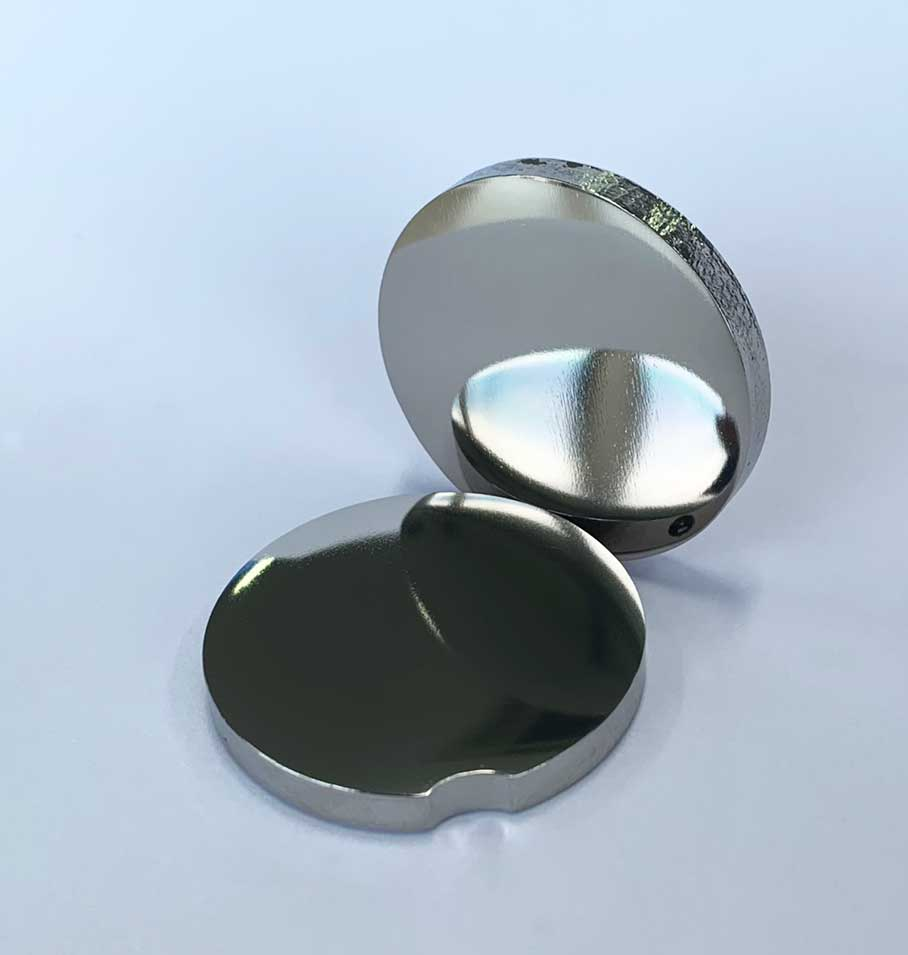 Titanium products finished by buffing